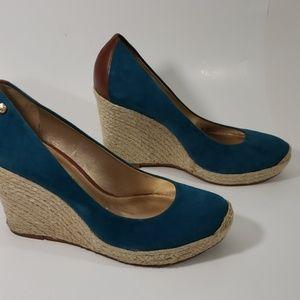 Antonio Melani Size 8 Wedge Espadrilles Blue Suede